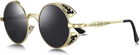 WHCREAT Retro Unisex Redondas Polarizado Gafas de sol Protección de UV 400 marco mural bisagra de primavera para mujeres hombres (lente de espejo disponible)