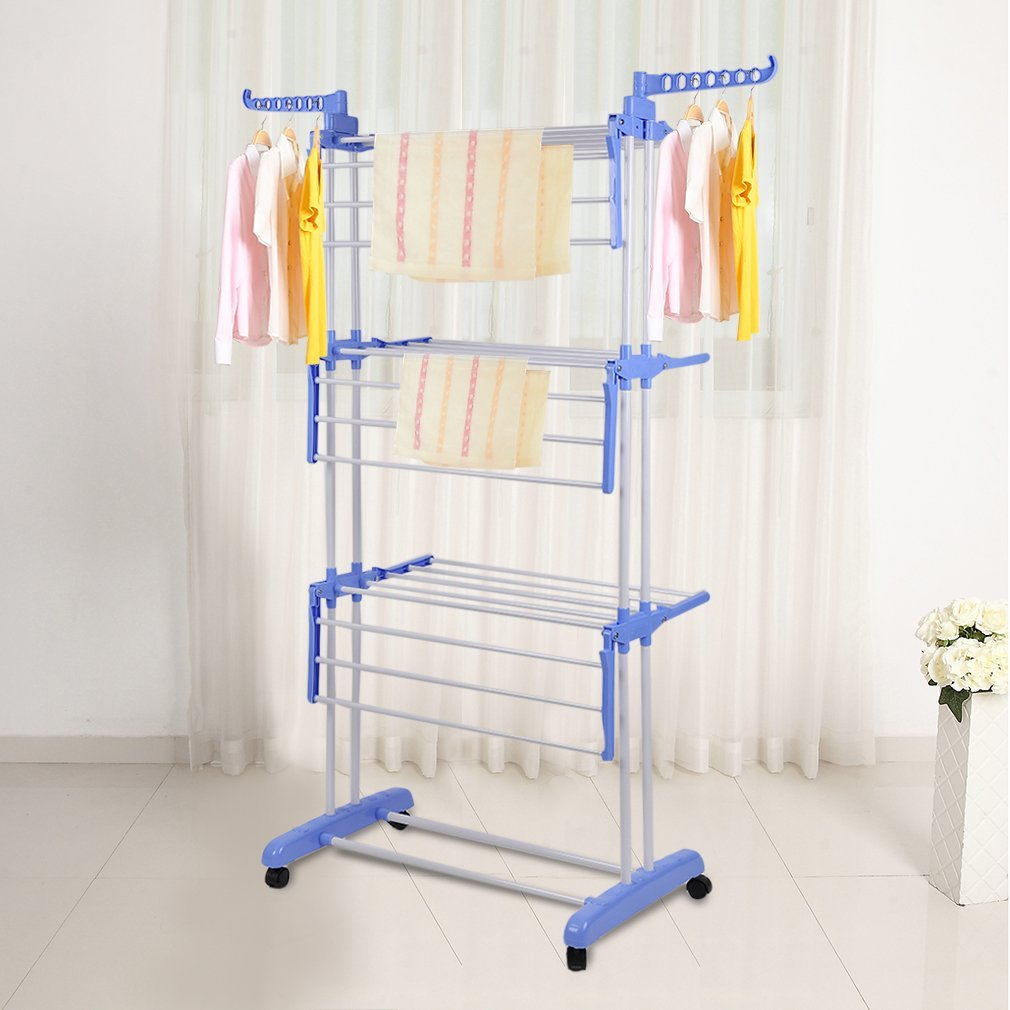 Homgrace Collapsible 3-Tier Clothes Drying Rack, Folding Garment Hanger Hanging Rods with Casters (Blue)