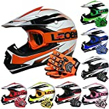 Leopard LEO-X16 Kids Motocross HELMET & GLOVES & GOGGLES (Orange S) Children Quad Bike ATV Go Karting Helmet