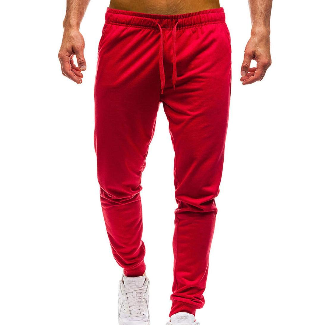 Men Pure Color Pocket Overalls Casual Pocket Sport Work Casual Trouser,PASATO Classic Cotton Pants(Red, L)