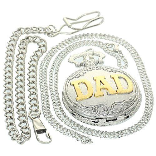 Silver Gold Father's Day Gift DAD Arabic Numerals Watches Vintage Antique Case Pocket Watch 1 PC Necklace 1 PC Clip Key Rib Chain Quartz Pendant Watch Fob Nurse Watch -