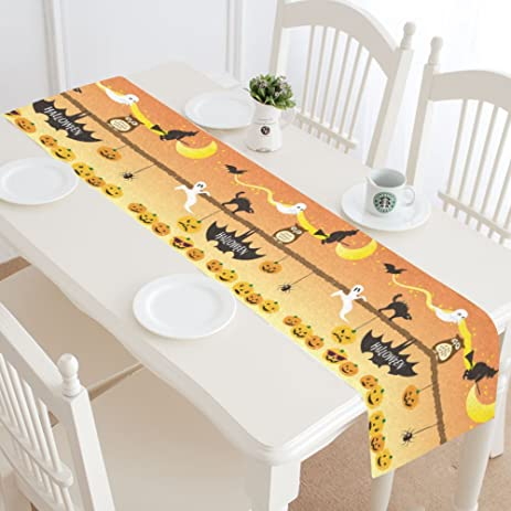 InterestPrint Pumpkin Ghost Cat Owl Spider Long Table Runner 16 X 72  Inches, Halloween Holiday