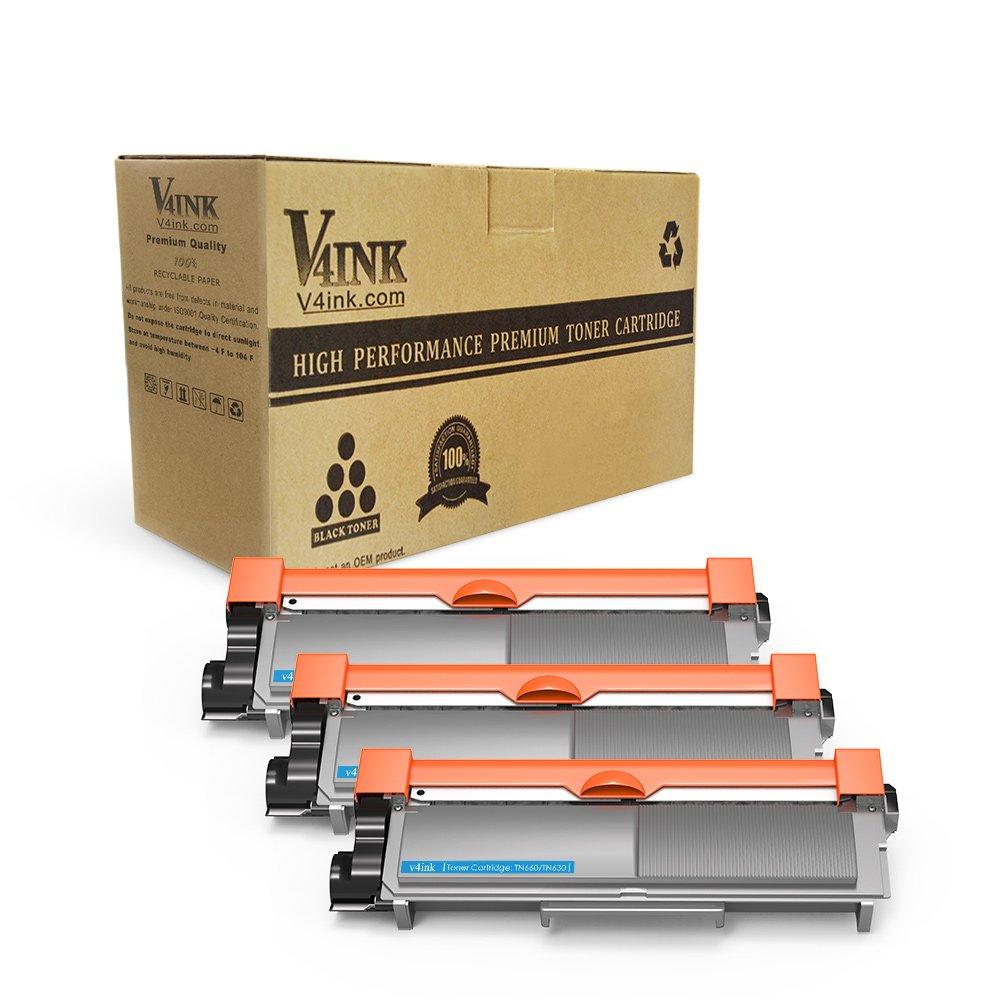 V4INK 3-Pack New Compatible Brother TN630 TN660 Toner Cartridge Black for Brother HL-L2340DW HL-L2300D HL-L2380DW MFC-L2700DW L2740DW DCP-L2540DW L2520DW HL-L2320D MFC-L2720DW L2740DW Printer ZNB-TN660-C03