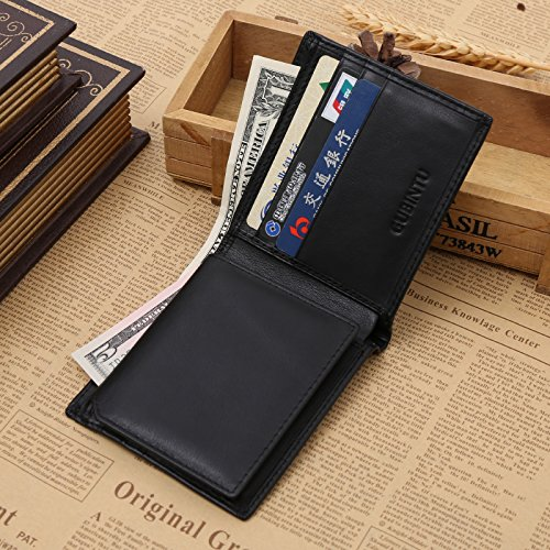 VRLEGEND Men Genuine Leather Wallet RFID Blocking- Credit Card Protector Slim Billfold Trifold Wallet (Black)