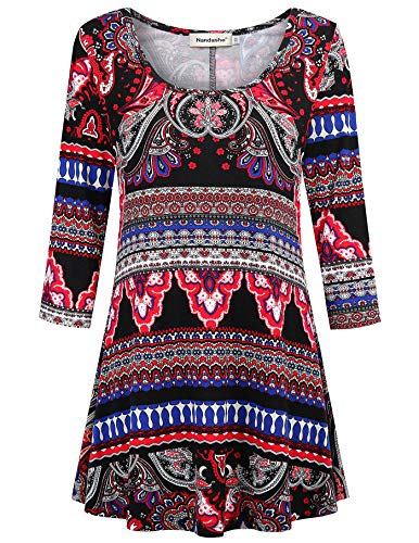 Nandashe 3/4 Sleeve Summer Tunics for Women, Thick Black Long Sleeve Shirt Women Floral Tights Petite Large Tops with Spandex Style&co Tunics Elbow Length Tunic Misses Clothes Colorful Printing L ()