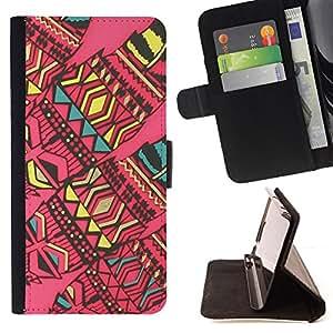 BullDog Case - FOR/Apple Iphone 5 / 5S / - / abstract native American art quilted pink /- Monedero de cuero de la PU Llevar cubierta de la caja con el ID Credit Card Slots Flip funda de cuer
