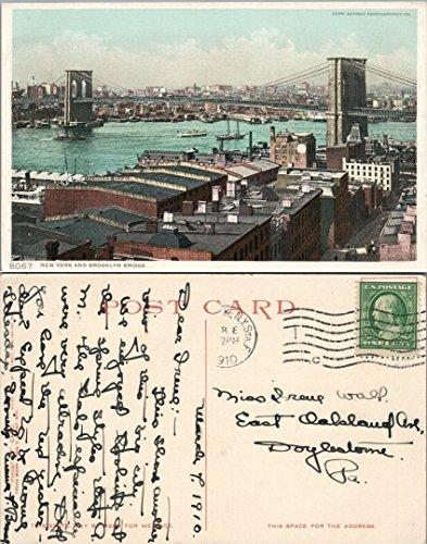 (ANTIQUE 1910 POSTCARD - NEW YORK & BROOKLYN BRIDGE)