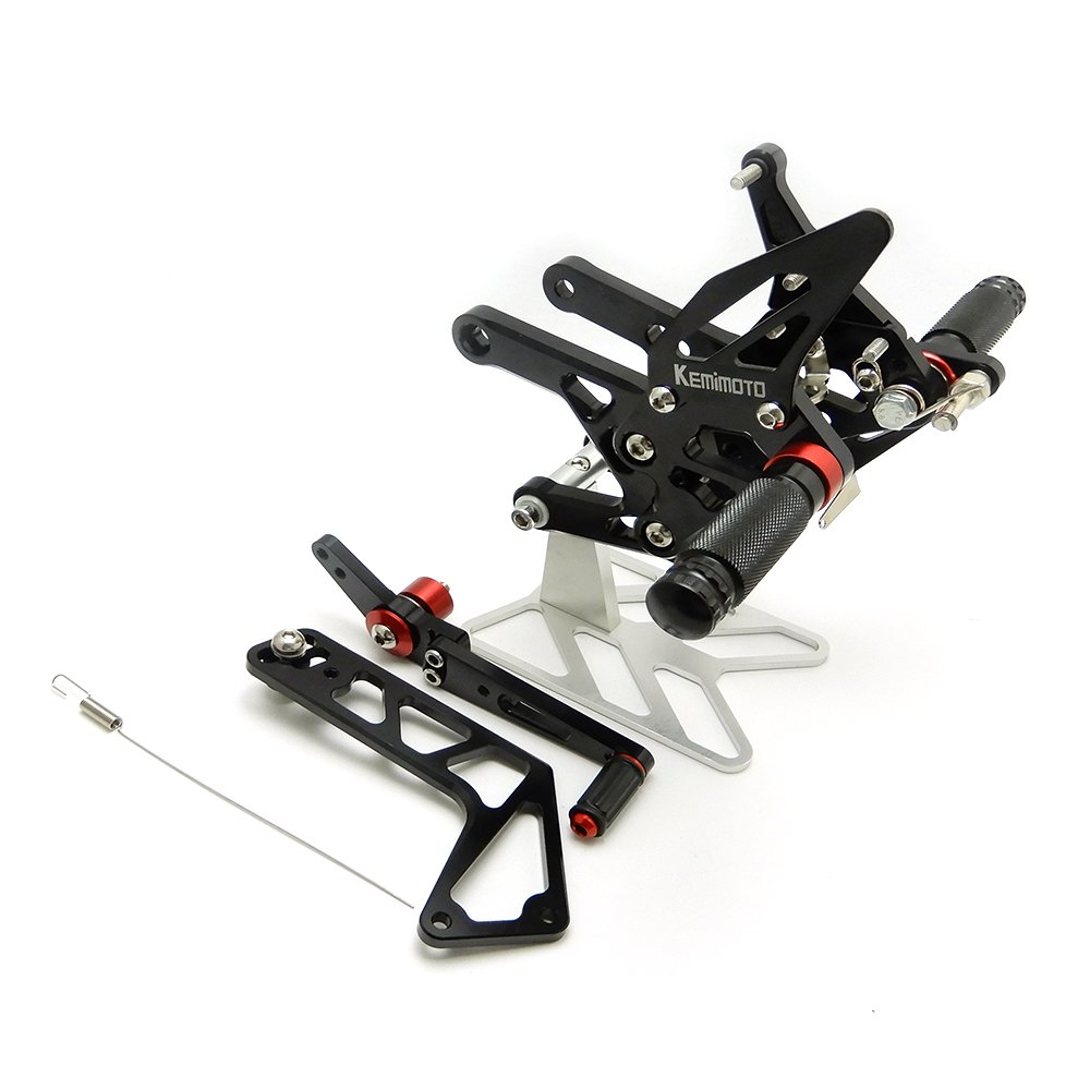 KEMIMOTO 2015 2016 2017 R1 Rear Sets CNC Adjustable Rearset Foot Rest Pegs for Yamaha YZF-R1 15 16 17
