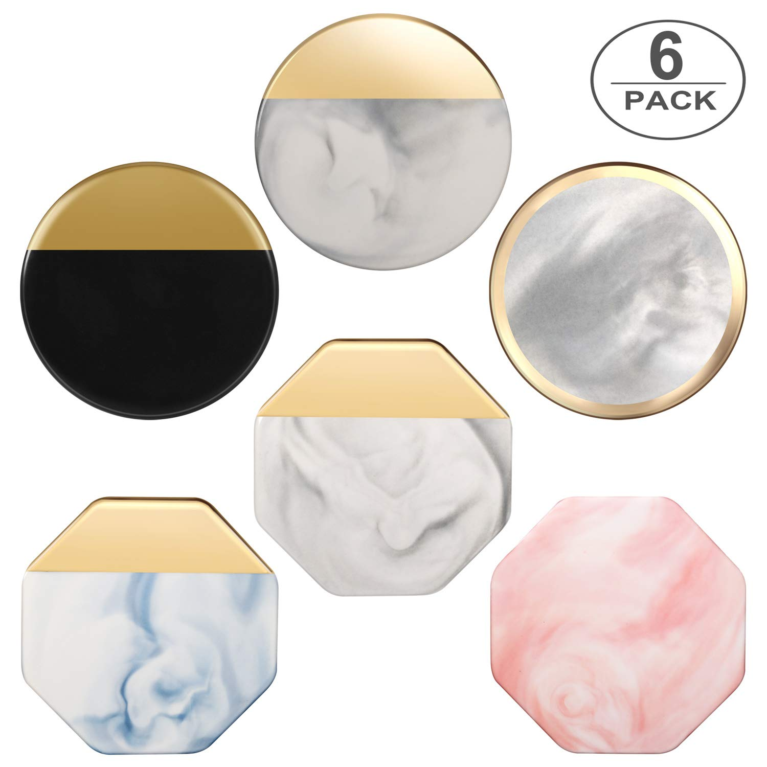 Ceramic Mug Coasters Bar Coaster, TUTUWEN Adiabatic Stone Drink Coaster Marble Pattern Gold-plated Cup Mat Sets with Non-Slip Cork Base [Non-Absorbent], Elegant Decor Gift in Home/Office -6 Pcs by TUTUWEN