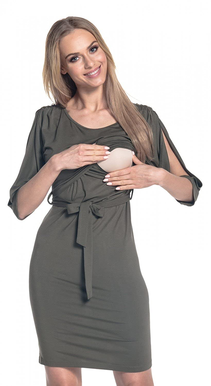 Happy Mama. Womens Nursing Layered Dress Belted Cold Shoulders Pregnancy. 432p nursdress_432