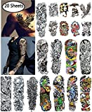 Nutrition Bizz Extra Large Temporary Tattoos Full Half Arm Tattoo Sleeves 20 Sheets for Men Women Teen Fake Tattoo Biker Tattoo Waterproof Stickers for Arms Shoulders Chest & Back
