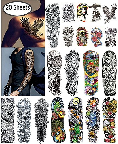 Nutrition Bizz Extra Large Temporary Tattoos Full Half Arm Tattoo Sleeves 20 Sheets for Men Women Teen Fake Tattoo Biker Tattoo Waterproof Stickers for Arms Shoulders Chest & (Diy Money Man Costume)
