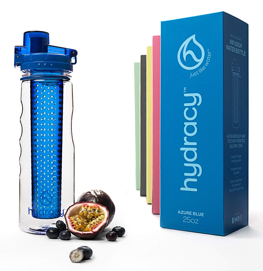 Hydracy Fruit Infuser Water Bottle 25 Oz Sports Bottle with Full Length Infusion Rod and Insulating Sleeve Combo Set 27 Fruit Infused Water Recipes eBook Gift Your Healthy Hydration Made Easy