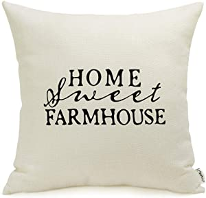 Meekio Farmhouse Decorative Throw Pillow Covers with Home Sweet Farmhouse Quotes 18 x 18 Housewarming Gifts