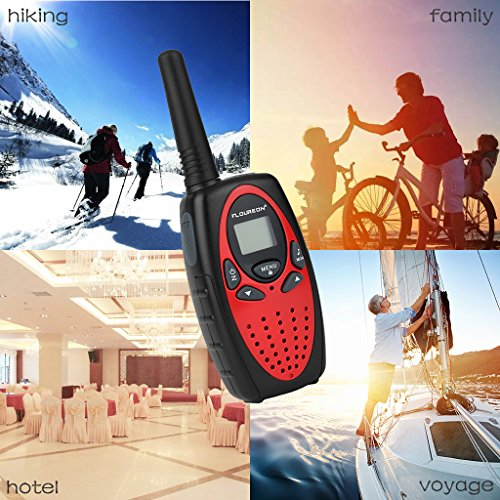 Floureon 4 Packs 22-Channel FRS/GMRS Two Way Radios 3000M/1.9MI Range Handheld Walkie Talkies for Outdoor Adventure (Red)