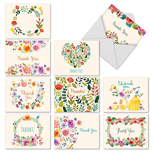 The Best Card Company M2364TYB 10 Assorted Blank Note Grateful Greetings Card
