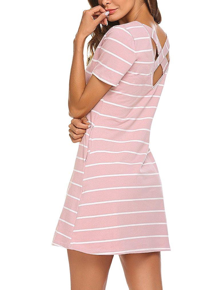 04f94f510d4a Feager Women\'s Casual Striped Criss Cross Short Sleeve T Shirt Dress with  Pockets Gender:Women Waistline:Natural Dresses Length:Above Knee,Mini