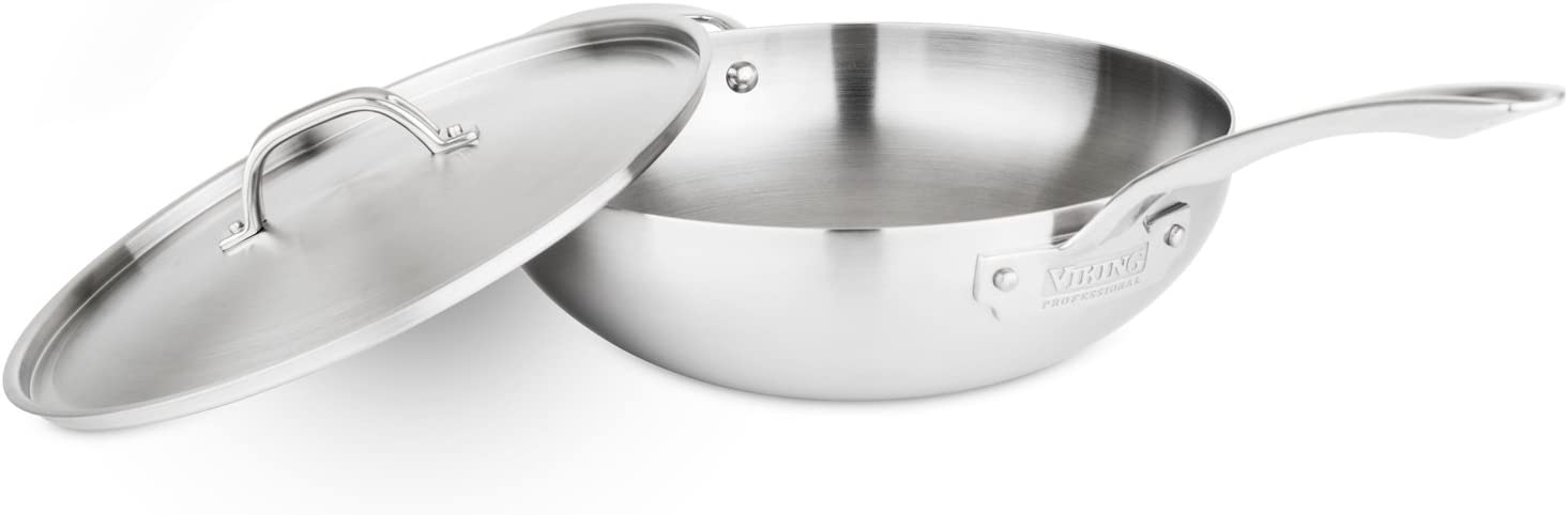 Viking Professional 5-Ply Stainless Steel Chef's Pan with Lid, 12 Inch