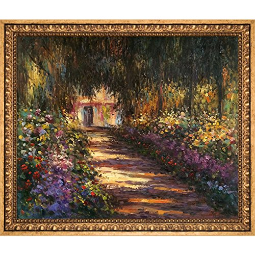 (overstockArt Pathway Garden at Giverny by Claude Monet Hand Painted Oil on Canvas with Versailles Gold Frame, 27.5