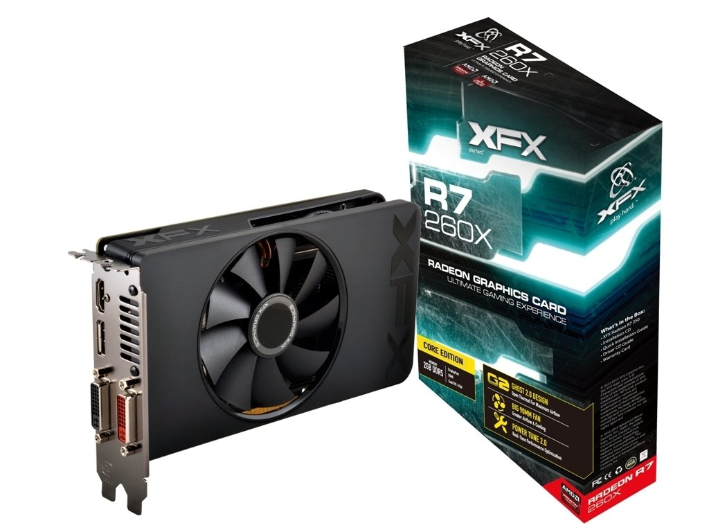 XFX Radeon R7 260X 1075MHz 2GB DDR5 DP HDMI 2 X DVI Graphics Card (R7260XCNF4)