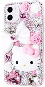 Max-ABC iPhone 11 Bling Glitter Case,Luxury Shiny Diamond Crystal Rhinestone Sparkly Jewelled Gemstone Cute Cartoon Cat 3D Handmade Clear Cover Case for iPhone 11 6.1''
