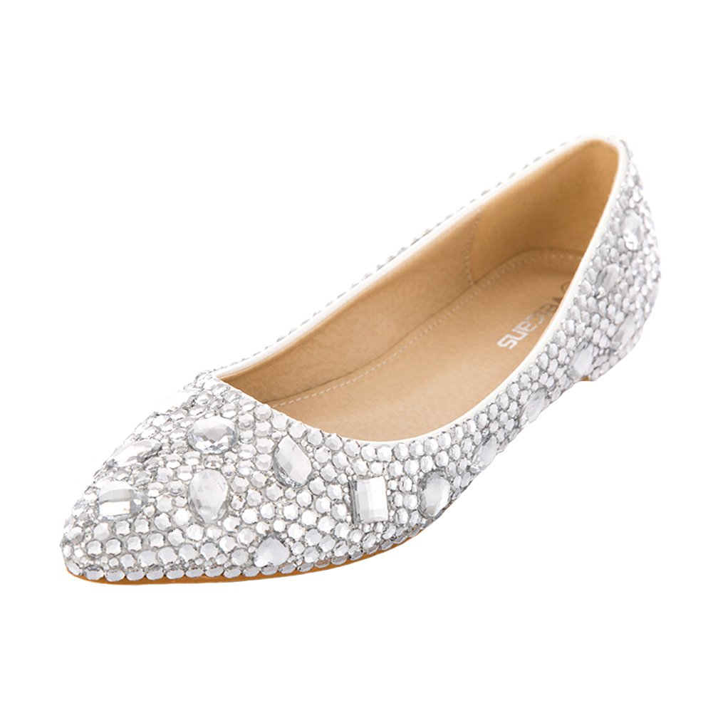 VELCANS Women's Bling Rhinestone Ballet Dress Flats for Wedding,Brides,Bridesmaid and Prom Shoes (11 B(M) US, Silver)