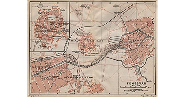 Amazon Com Timisoara Town City Planul Orasului Temeswar Temesvar