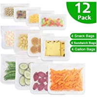 Silicone Reusable Food Storage Bags - Extra Thick Leakproof Airtight Freezer Ziplock Bags for Home & Travel