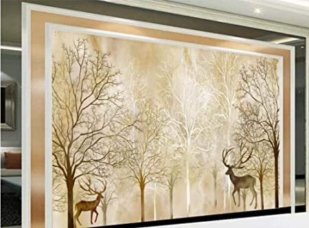 HQHZZQ personalizar murales de papel tapiz estereoscópico 3D Papel tapiz de bosque de árboles grandes Papel tapiz para paredes para dormitorio TV telón de fondo, 300x210 cm (118.1 por 82.7 in): Amazon.es: