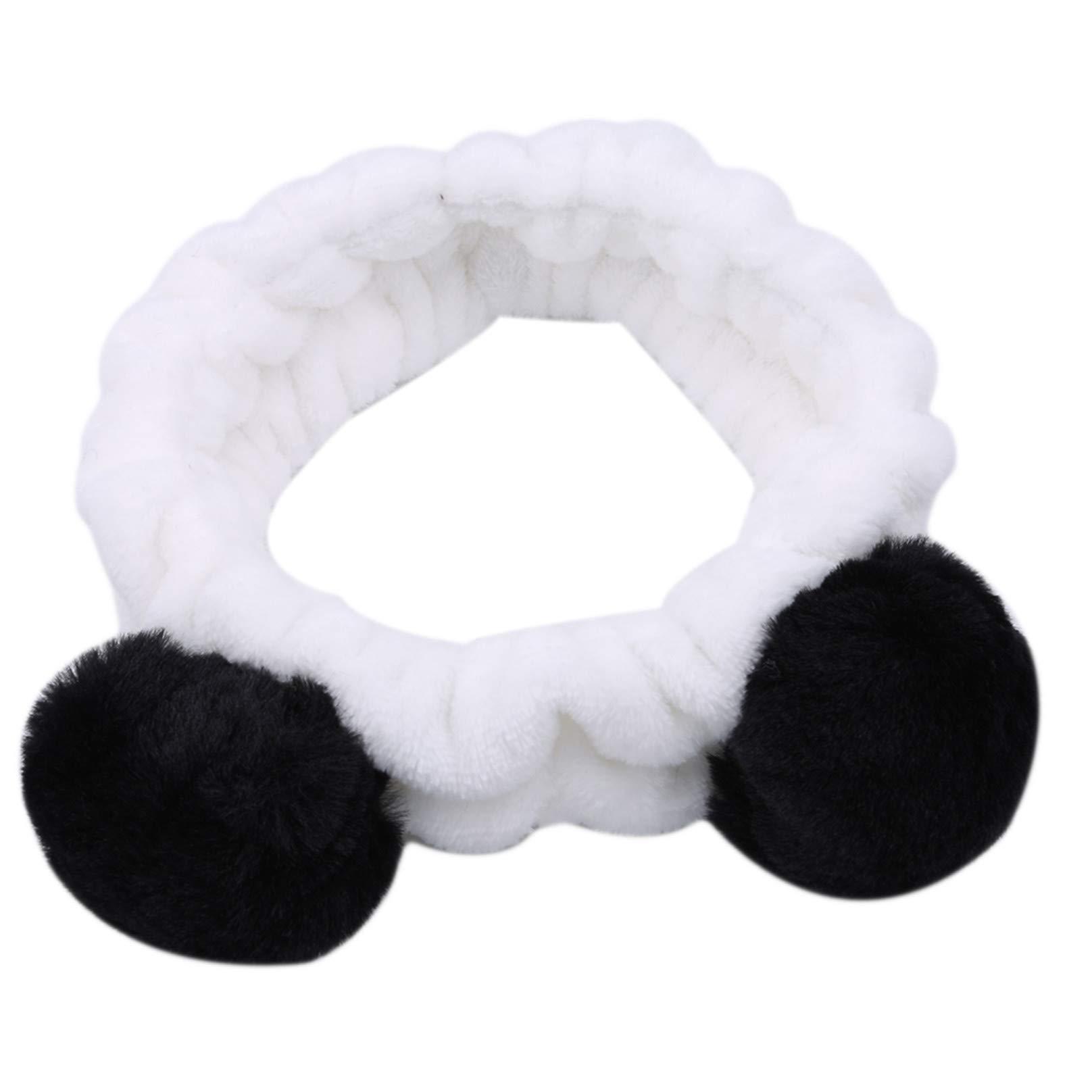 Daylyric Cute Panda Hair Ball Wash Face Headband Shower Spa Makeup Headband For Girls And Women