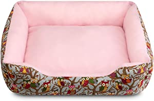 Hollypet Self-Warming Pet Bed for 25lbs Small and Medium-Sized Dogs Cats, 24 x 22 x 6 inches Rectangular Owl Sleeping Bag Cushion