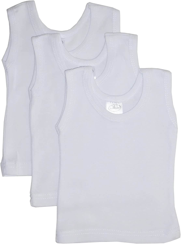 bambini Baby White Rib Knit Sleeveless Tank Top Shirt