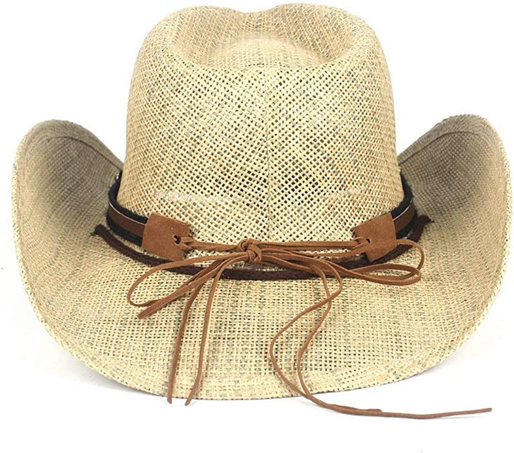 MXL Mens Straw Western Sombrero Cowboy Hats with Punk Belt Color : Straw, Size : 58cm
