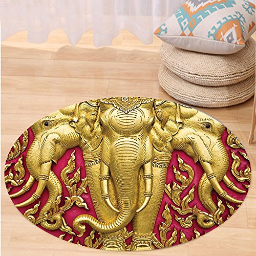 VROSELV Custom carpetElephants Decor Elephant Carved Gold Paint On Door Thai Temple Spirituality Statue Classic Bedroom Living Room Dorm Decor Round 72 inches by VROSELV