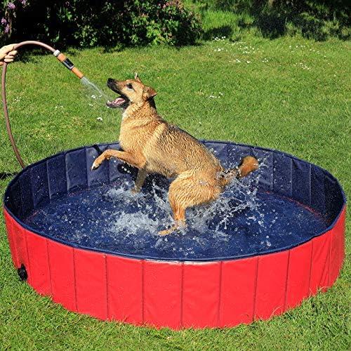 lionto by dibea Piscine pour chien pliable en PVC bassin pour chiens (M) Ø 120x30 cm