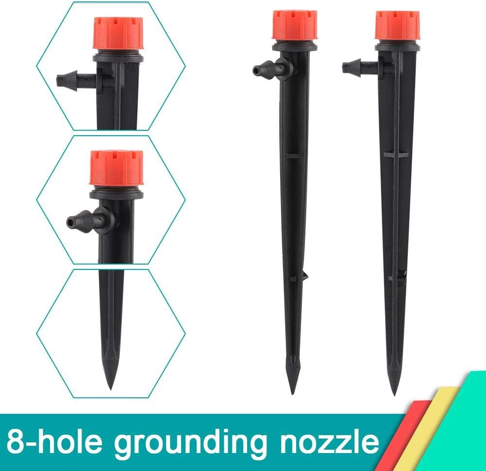 Liineparalle 20 Pcs Adjustable 360 Degree Water Flow Irrigation Drippers 8 Water Outlet Garden Sprinkler Dripper Watering Tool on Stake Emitter Drip System