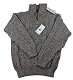 Half Zip Sweater Organic Aran Wool Oatmeal Color Mens XXL Irish Made