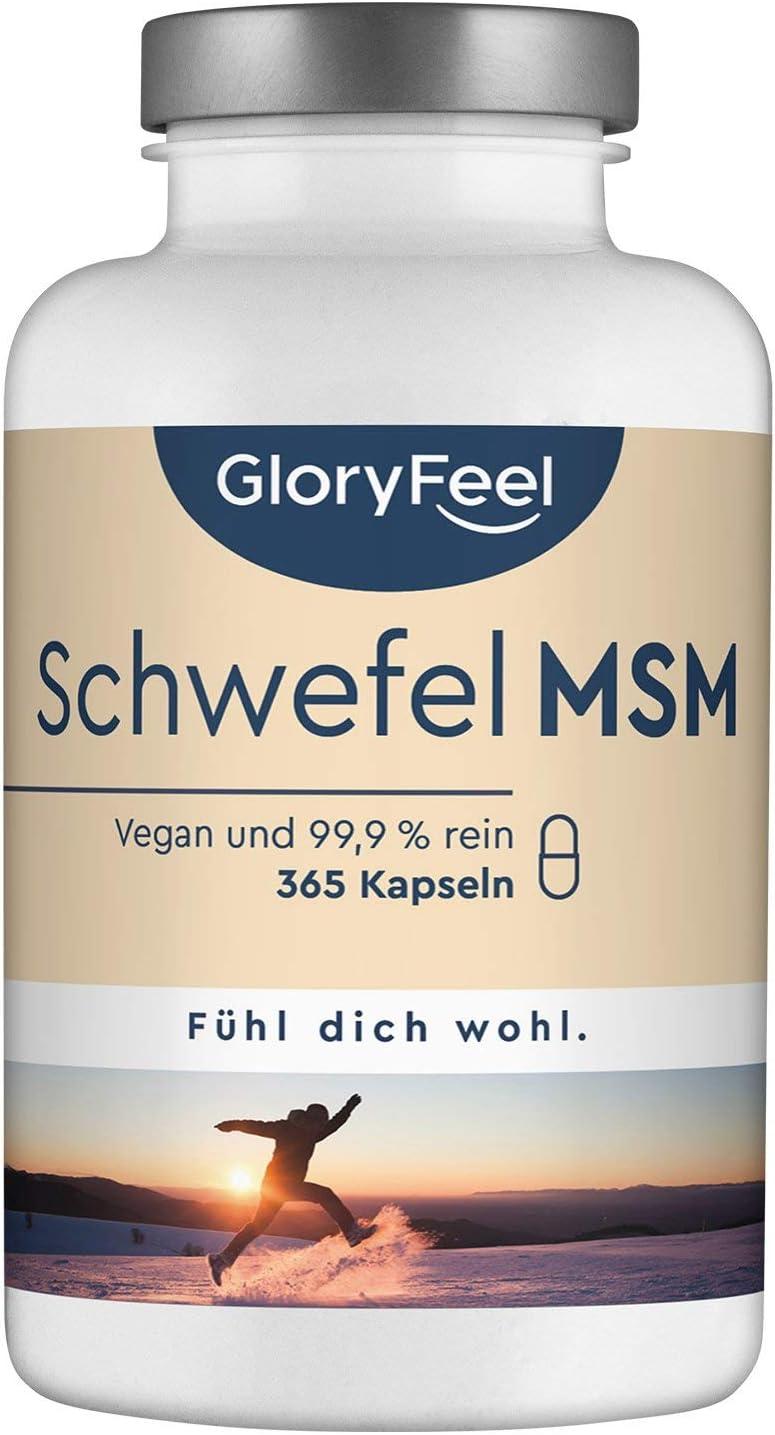 MSM 365 cápsulas veganas - 1600mg MSM (Metilsulfonilmetano) en polvo por dosis diaria de azufre orgánico - 99,9% Puro - 6 meses de suministro - Probado en laboratorio sin aditivos