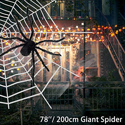 Halloween Spider Decorations, Include 6.6FT Giant Spider,16.4FT Large Spider Round Web,Stretch Cobweb, 20 Mini Plastic Spiders for Indoor Outdoor Yard