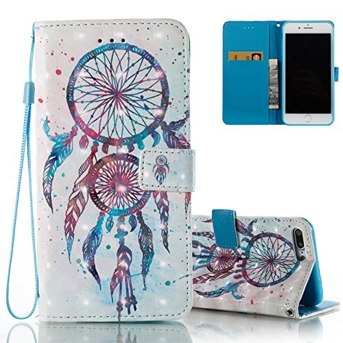 iPhone 8 Leder Hülle,iPhone 7 Bookstyle Ledertasche, Aeeque Luxuriös 3D Glitzer Bling [Cute Tier Milchkuh Muster] Kartenfächer Standfunktion Brieftasche Handytasche für iPhone 7 / 8 (4.7) Schutzhülle  Blau Dreamcatcher