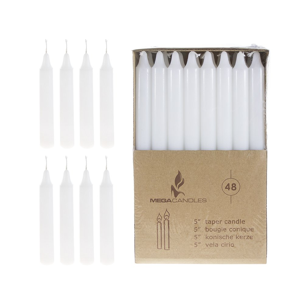 Mega Candles 48 pcs Unscented White Straight Taper Candle | Hand Poured Wax Candles 5'' x 7/8'' | for Home Décor, Wedding Receptions, Baby Showers, Birthdays, Celebrations, Party Favors & More