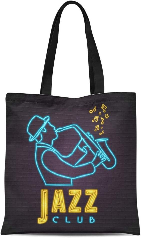 Semtomn Canvas Tote Bag Shoulder Bags Band Jazz Neon Light Glowing Bright Saxophone Music Notes Womens Handle Shoulder Tote Shopper Handbag