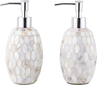 Sea Pearl Soap Dispenser Lotion Bottle Chrome Plated Plastic Pump 12oz Set Of 2 Home Kitchen Amazon Com