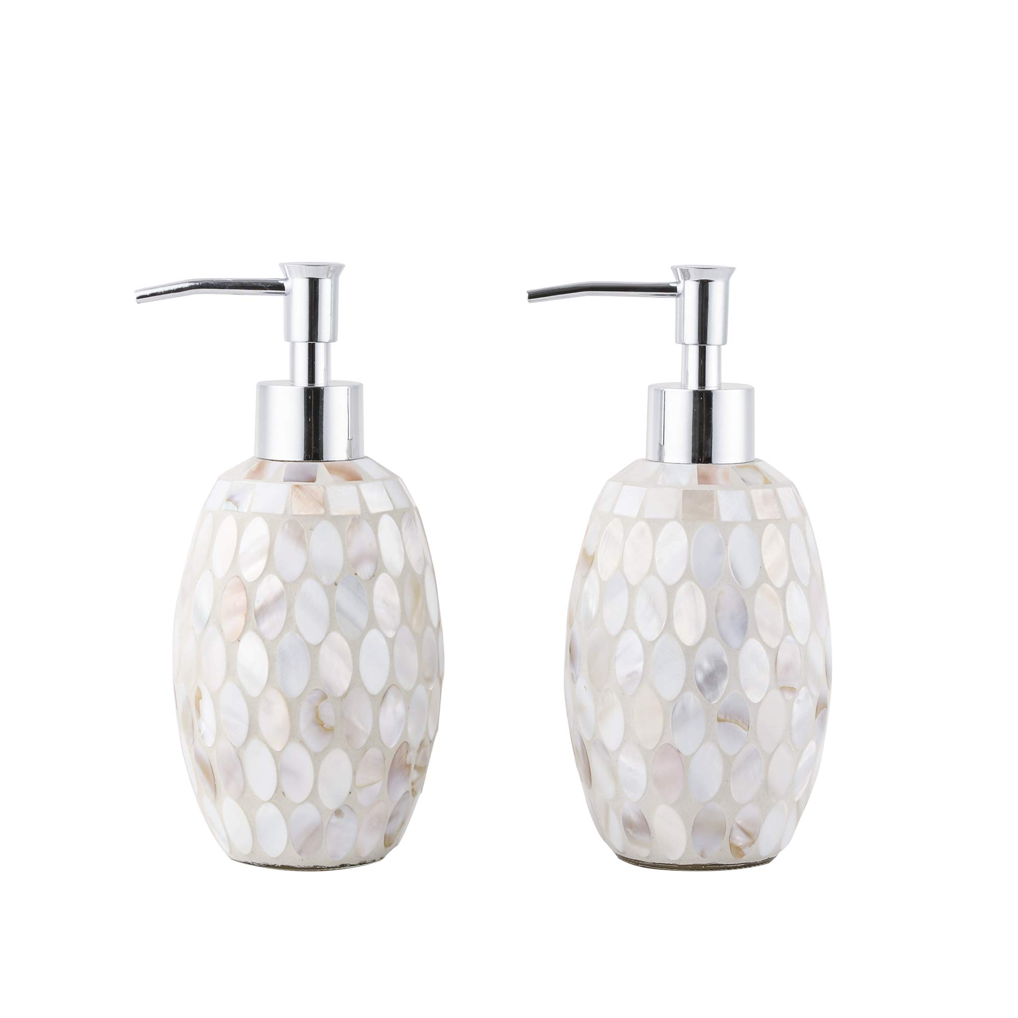 WH Housewares Set of 2 Soap Dispenser-Lotion Bottle-12OZ-Mosaic Pearl Chrome Plated Plastic Pump(Pearl)