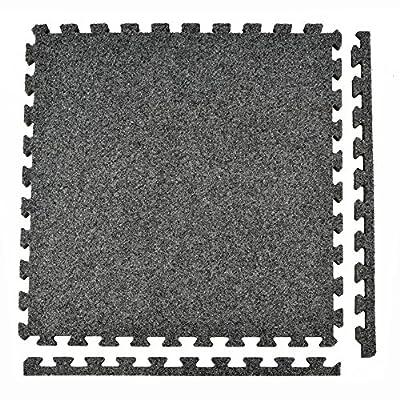 Greatmats Royal Interlocking Carpet Tiles 10x10 Ft Kit Dark Gray