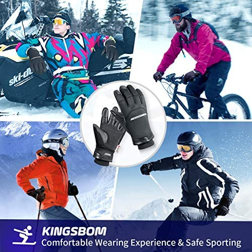 KINGSBOM -40℉ Winter Waterproof Thermal Gloves - 3M Thinsulate Windproof Touch Screen Warm Gloves - for Driving,Cycling,Riding,Running,Outdoor Sports - for Women and Men - Black