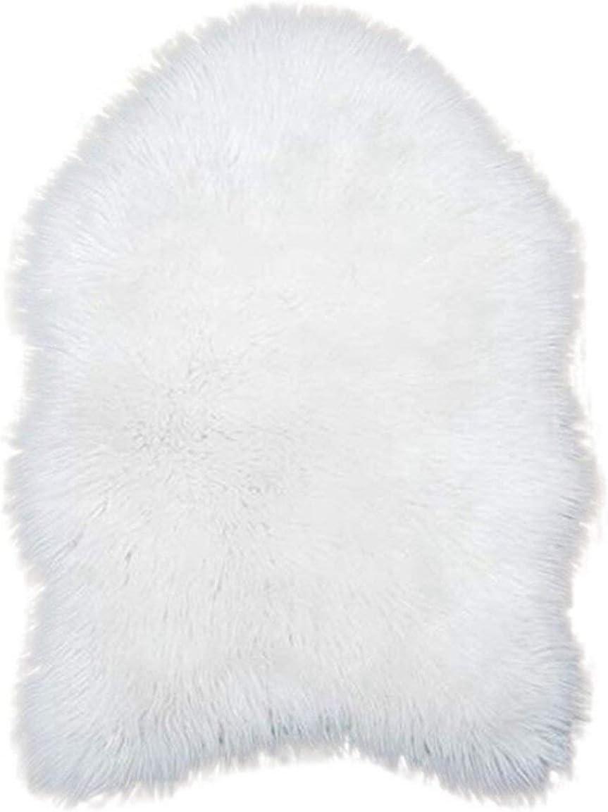 Alfombra de Piel de Oveja Blanca Antideslizante para Silla de Dormitorio o decoración del hogar #XTN