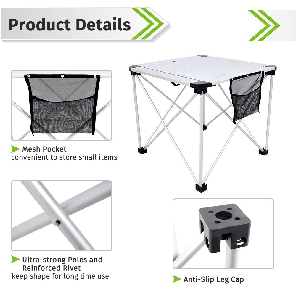 Outdoor Kitchen Cooking Backpacking Travel Hiking Table Garden Geertop Portable Folding Camping Table Aluminum Lightweight Roll Up Table Top Square Compact Collapsible Camp Side Table for Picnic Beach BBQ