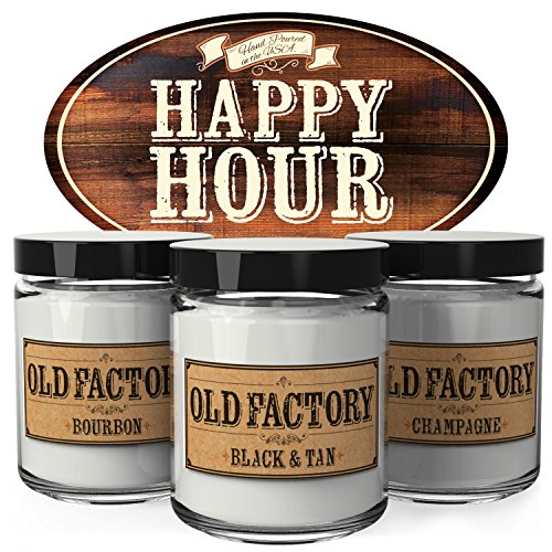 - Old Factory Scented Candles - Happy Hour - Set of 3: Bourbon, Black & Tan, and Champagne - 3 x 4-Ounce Soy Candles - Each Votive Candle is Handmade in the USA with only the Best Fragrance Oils