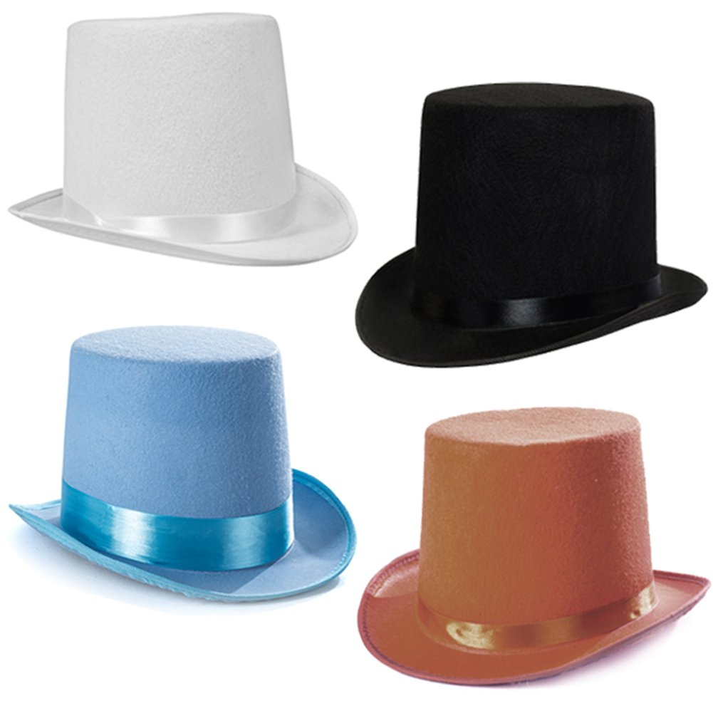 e8ad88e3e Tigerdoe Top Hats - Costume Hat - Party Hat - Stovepipe Hat - Colored Top  Hats (4 Pack)